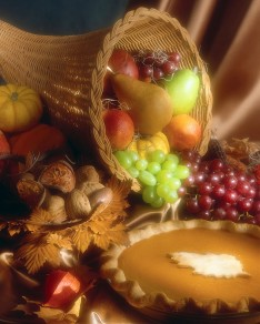 Basket of Fruit and Pumpkin Pie
